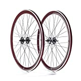 State Bicycle Fixed Gear/Fixie 700c Machined Track Wheels, Front Plus Rear, Brown by State Bicycle Co.