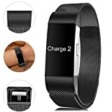 Find-MyWay Compatible with Fitbit Charge 2 Band,Charge 2 Accessories Stainless Steel Bracelet Women Men Wristbands Strap Rose Gold Silver Compatible for Charge 2 Fitness Tracker