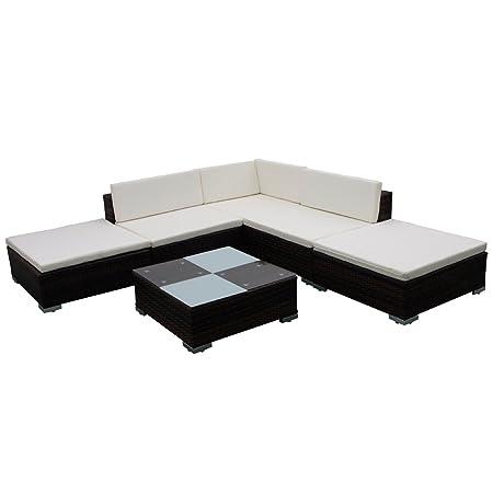 2c438d5dd839 vidaXL Outdoor Lounge Set 15 Piece Brown Poly Rattan Outdoor Garden  Furniture: Amazon.co.uk: DIY & Tools