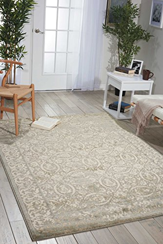 Nourison Euphoria EUP05 Traditional Rustic Vintage Grey Area Rug  5 Feet 3 Inches by 5 Feet 3 Inches, 5'3″ x 5'3″ For Sale