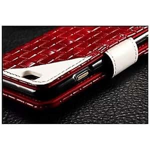 GONGXI- patrón Fashion® tejido del cuero genuino de la contraportada con ranuras para tarjetas para iphone 5 / 5s (colores surtidos) , Marrón Oscuro