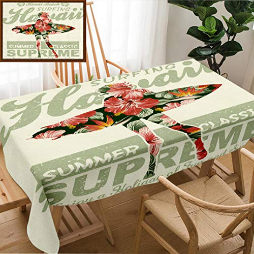 Unique Custom Design Cotton and Linen Blend Tablecloth Hawaiian Decorations Collection Tropical Hawaii Hibiscus Surfing Girl Silhouette Surfboard Retro TheTablecovers for Rectangle Tables, 70