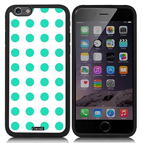 CocoZ? New Apple iPhone 6 s 4.7-inch Case Beautiful mint green Polka Dot pattern TPU Material Case (Black TPU & Polka Dot (Pepper Motif)