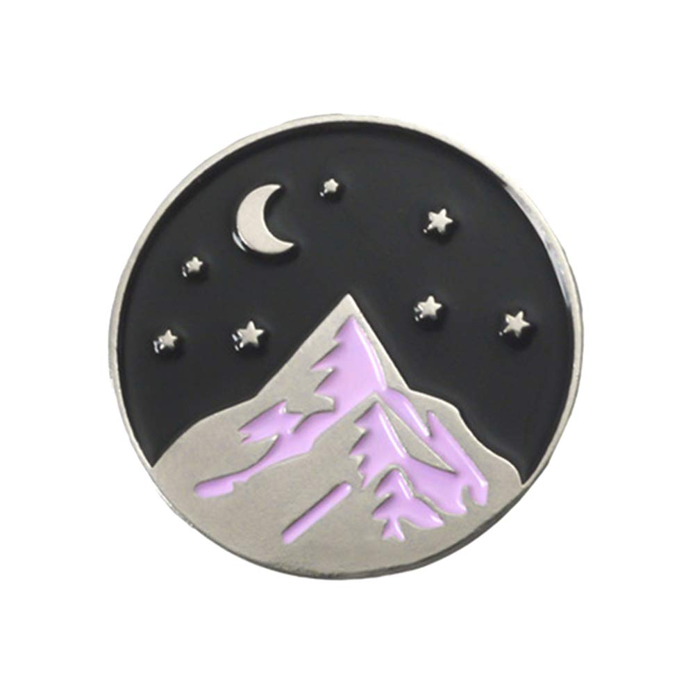 BrawljRORty Brooch Pin, Cartoon Mountain Moon Star Enamel Round Brooch Pin Badge Clothes Backpack Decor