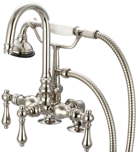 - Water Creation F6-0013-05-CL Vintage Classic 3-3/8-Inch Center Deck Mount Tub Faucet with Gooseneck Spout, 2-Inch Risers and Handheld Shower
