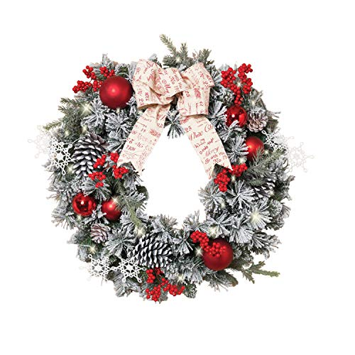 Outdoor Lighted Artificial Christmas Wreaths in US - 9