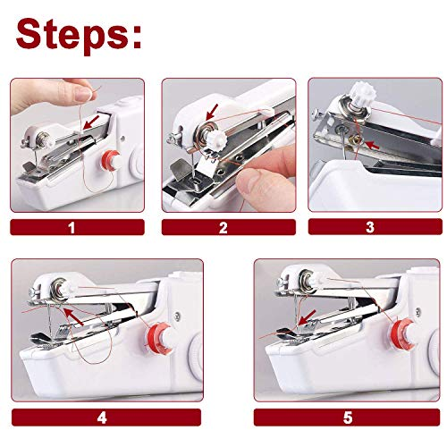 SLEPPGO Handheld Sewing Machine,Mini Handy Portable Cordless Sewing Machine,Quick Repairing Suitable for Fabric, Kids Cloth, Clothing, Home Travel Use,White