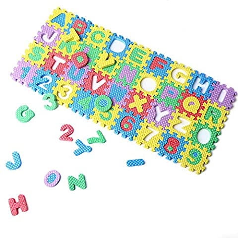 Tiny 36Pcs Education Kids Game Carpet Blankets Baby Alphabet & Numbers Soft Foam Play Mini Puzzle Mats Above 3 Years (Digimon Puzzle)