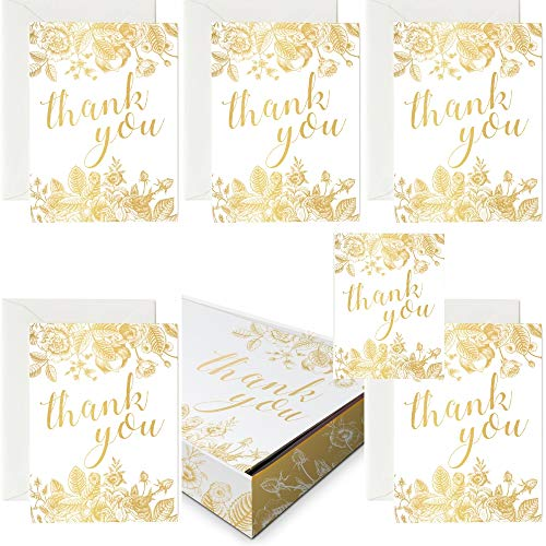 (Gold Thank You Cards - 36 Floral Designed Gold Thank You Cards with White Envelopes - Blank Interior Cards for Bridal, Baby Shower, Wedding and Business (36 Pack Gold Card)
