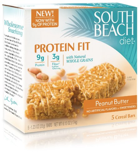 South Beach Diet Protein Fit Cereal Bar, Peanut Butter, 5-Count (Pack of 8)