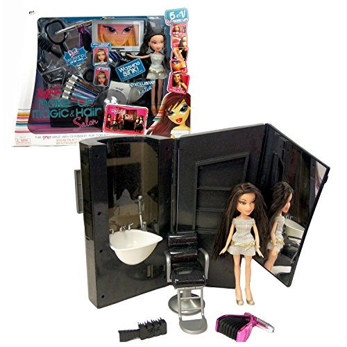 MGA Entertainment Bratz Make Up Magic & Hair Salon Series 10 Inch Doll Playset with KATIA, Real Working Airbrush, Tattoo Pen, Body Glitter Gloss, Stencil, Swivel Chair, Mirror and Hairbrush