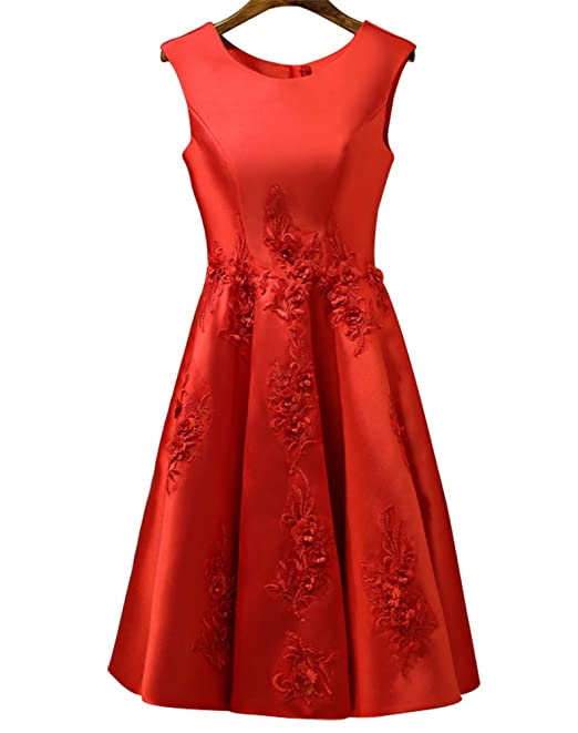 b4b26092987 DGYU DN Women s Sleeveless Satin Short Prom Dresses With Appliques Boat  Neck Cocktail Dresses Size XS