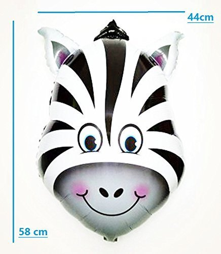 Safari Jungle Zoo Huge Animal head Balloon Jumbo Balloons Zebra, Tiger, Lions, Giraffe & Monkey with 20pcs 11'' latex Safari Print Party Supply foci cozi by foci cozi (Image #5)