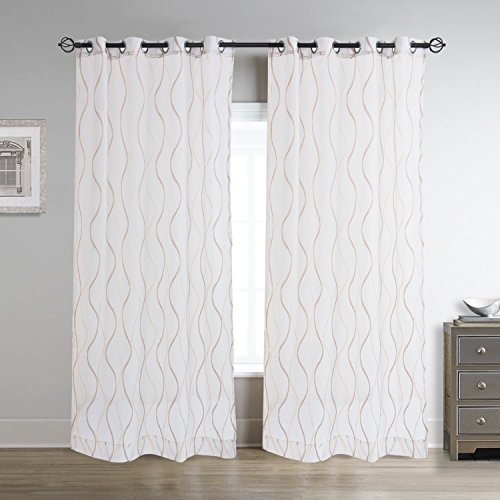 Cheery Home Wave Sheer Curtains Voile Panels Drapes Metallic Grommet for Living Room,52 Inch By 63 Inch,Brown and Gold