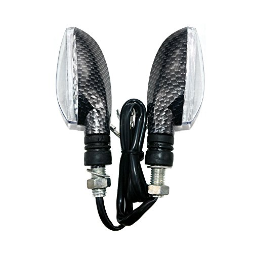 MYK Powersports LED Turn Signal Indicator Blinker Light Universal For Motorcycle Sport Street Racing Bike - Carbon Fiber Finish (#9711) by MMG (Image #1)