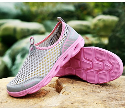 Mens Womens Breathable Sneakers for Summer Ladies Trainers Mesh Slip On Water Shoes Gray-Pink ztMLDi
