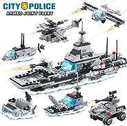 City Police Military Battleship Building Blocks Set Police Helicopter Patrol Boat Cop Car Bomber DIY Construct