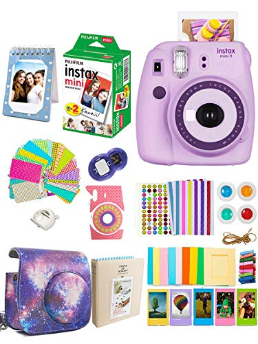 Fujifilm Instax Mini 9 Film Camera + Fuji Instax Mini Film + Instax Accessories Kit Bundle, Valentine's Gift, Instant Camera for Kids – Light Purple