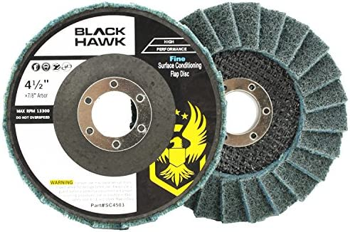 "4-1//2/"" x 7//8/"" Black Hawk Surface Conditioning Flap Discs Medium 5 Pack Red"