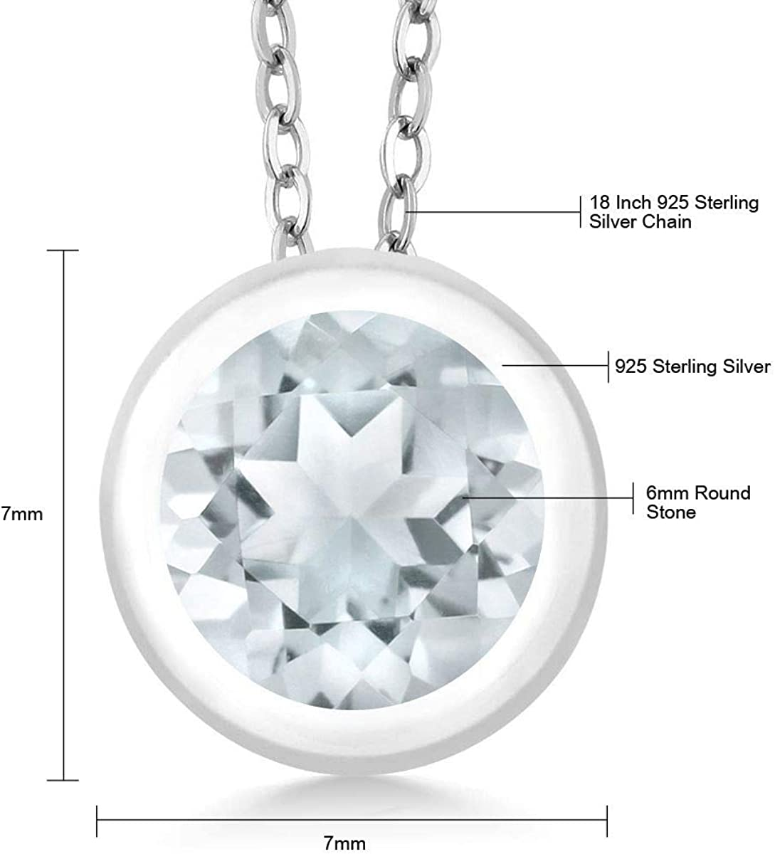 DUOVEKT Natural Aquamarine Beads Pendant Jewelry for Women Crystal 36x20x11mm Clear Blue Stone 925 Silver Necklace Pendant AAAAA