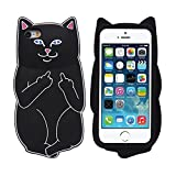 Iphone 4 4S Case, 3D Cartoon Middle Finger Pocket Base Kitty Cat Case For Iphone 4 4S Soft Silicon Phone Cases Black
