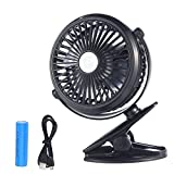 Battery Operated Clip Fan Quiet Car Fan Mini Portable Personal Fan for Baby Stroller, Car, Office, Outdoor, Travel, Camping USB Powered (Black)