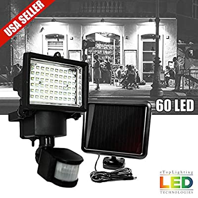 60 LED Motion Sensor Solar Powered Outdoor Garden Security Flood Light Spot Lamp