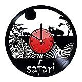 Safary Animal Africa Art Design Vinil Wall Clock/Original Gift Idea For Him or Her, Boys or Girls/Cool home decor wall art/Bedroom Nursery Living Room Decor