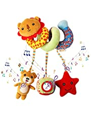 JIAZHILONG Spiral Plush Toy, Baby Pram Crib Ornament Hangings, with Music Instrument, Haha Mirror, Rattle, Quality PP Cotton Material, Soft and Comfortable, Perfect for Babies