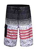 Unitop Men's Beachwear Surf Trunks Striped Printed Fast Dry with Side Pocket