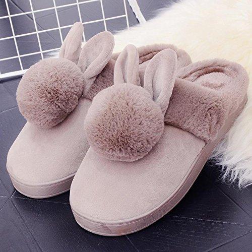 Fankou il creative paio di pantofole di cotone uomini pacchetto con l'inverno piscina home dormire scarpe Jane ha un antiscivolo tendenza moda del cocomero ,37-38, (rosso)