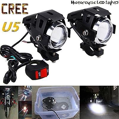 GOODKSSOP 2PCS Super Bright 125W 3000LM CREE U5 LED Motorcycle Universal Electric Bike Spotlight Headlight Work Light Driving Fog Spot Lamp Night Safety Headlamp + 1pcs Free Switch