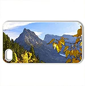 Autumn in the mountains - Case Cover for iPhone 4 and 4s (Mountains Series, Watercolor style, White)