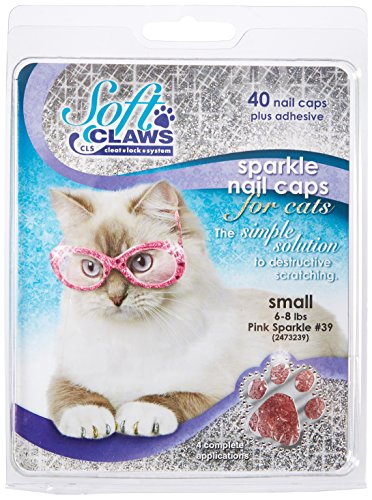 - Soft Claws for Cats, Size Small, Color Pink Glitter