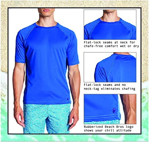 Short Sleeve Quick Dry Rashguard Medium Mens UPF 50+ Swim Shirt Turq//Grey Stitching Beach Bros