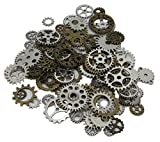 JGFinds 100 Pc Mixed Antiqued 2 Color Gears Wheels - Watch Findings, DIY Crafts, Jewelry Making, Steampunk Charms, 1cm-4cm