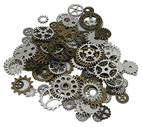 JGFinds 100 Pc Mixed Antiqued 2 Color Gears Wheels - Watch Findings, DIY Crafts, Jewelry Making, Steampunk Charms, - Goggles Indian Brands