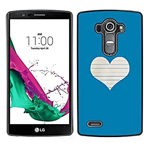 LG G4 / H815 H812 H810 H811 LS991 VS986 US991 Único Patrón Plástico Duro Fundas Cover Cubre Hard Case Cover - Heart Love Notebook White