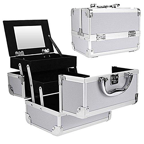 Onbio Portable Makeup Train Case Mini Aluminum Cosmetic Case