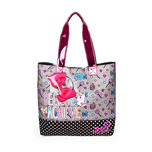 Nickelodeon JoJo Siwa Grey Tote Bag with Pink Removable Bow for Girls ()