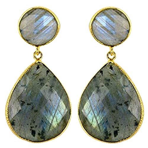 Choose Your Smooth Bezel Gemstone Stud Earring 24k Gold Plated Exclusively by GemMartUSA -Labradorite (LBER-90014)