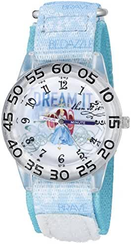Disney Girl's 'Cinderella' Quartz Plastic and Nylon Automatic Watch, Color:Blue (Model: W002942)