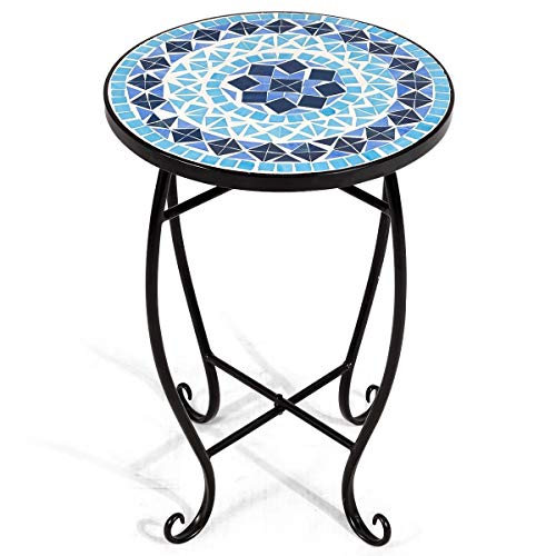 - LHONE Cobalt Mosaic Steel Lant Stand Round Accent Table for Patio Metal Cobalt Glass Top Indoor Outdoor Coffee End Table (Blue)