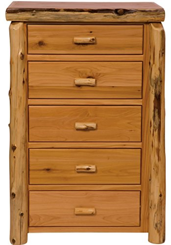 Fireside Lodge Furniture 12032-V Cedar Five Drawer Chest with Half Log Drawer, Value Line, Traditional Cedar - Drawer Half Log