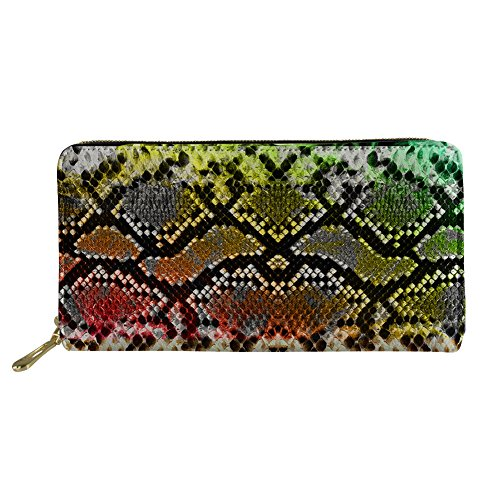Bigcardesigns Snakeskin Print Wallet Women Organizer Purse Zipper - Wallet Embossed Snakeskin