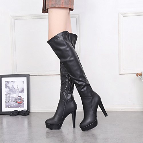 KHSKX-Ladies High Boots Boots With Thick Legs Over The Knee Boots High-Heeled Shoes British Style Waterproof Boots Rivets Thirty-six QGCxQK7w