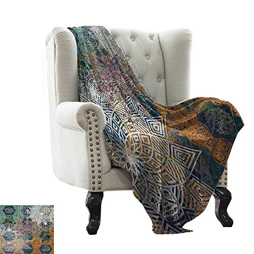 RenteriaDecor Bohemian Boho Yoga Decor,Lightweight Blanket Natural Peacock Feather Batik Hippie Mandala Medallion 60