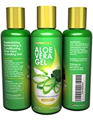 Aloe Vera Gel Natural Skin Oil Cream Lotion Juice for Face Hair Moisturizer Organic Ingredients with Extra Vitamin E - Improved 2017 Formula - Made in USA - Free Extra Ebook - 100%