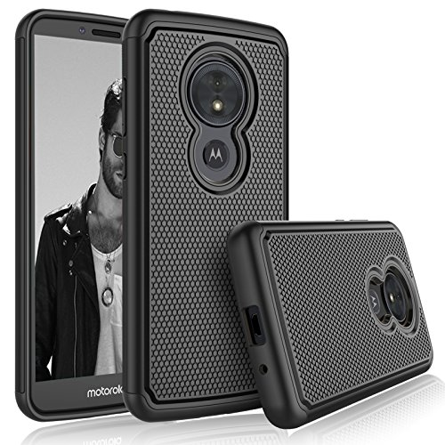 Tekcoo for Moto G6 Play Case/Motorola Moto G6 Forge Sturdy Case, [Tmajor] Shock Absorbing [Black] Hybrid Rubber Silicone & Plastic Scratch Resistant Bumper Grip Rugged Cute Hard Cases Cover