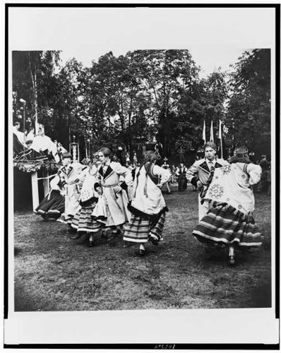Photo: Couples,Latvian dress folk dancing,costume,fishermen's festival,Riga,Latvia,1955 - Latvian Folk Costumes